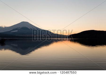 Mount fuji at Lake Yamanaka during sunset