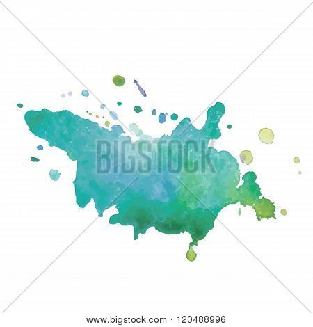 expressive watercolor stain with splashes of  green blue color