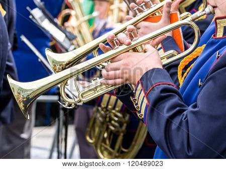 Young Musicians Plays On Trumpets At Music Festival