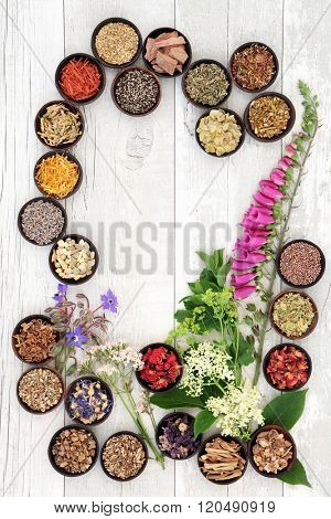 Naturopathic flower and herb selection used in herbal medicine in wooden bowls over white wooden distressed background.