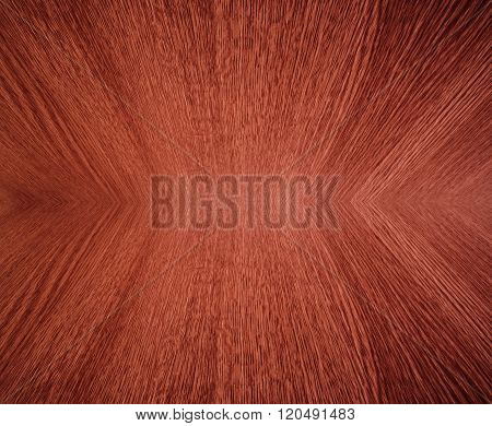 Orange wood grain, in mirror image - abstract background texture with diminishing perspective, depth, motion effect.