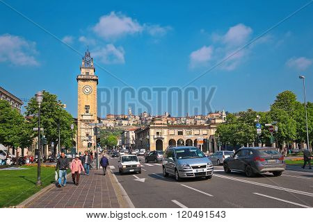 BERGAMO, ITALY - APRIL 14, 2014: Clock Tower on Piazza Vittorio Veneto.