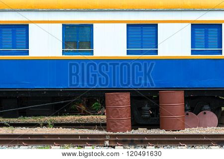 Repainted Thai's colorful train stop at Station in Thailand.