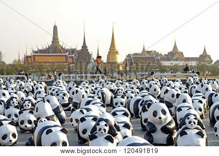 Bangkok, Thailand - March 4Th, 2016: Exhibition Of The 1,600 Paper-mache Panda Sculptures World Tour