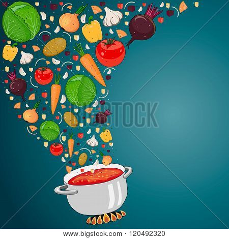 Cooking Soup With Vegetables. Vector Illustration