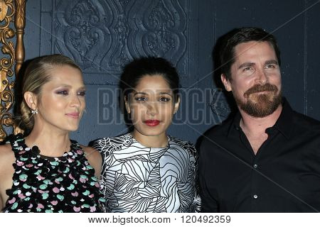 LOS ANGELES - MAR 1:  Teresa Palmer, Freida Pinto, Christian Bale at the Knight of Cups Premiere at the The Theatre at The ACE Hotel on March 1, 2016 in Los Angeles, CA