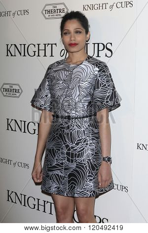 LOS ANGELES - MAR 1:  Freida Pinto at the Knight of Cups Premiere at the The Theatre at The ACE Hotel on March 1, 2016 in Los Angeles, CA