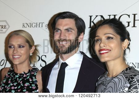 LOS ANGELES - MAR 1:  Teresa Palmer, Wes Bentley, Freida Pinto at the Knight of Cups Premiere at the The Theatre at The ACE Hotel on March 1, 2016 in Los Angeles, CA