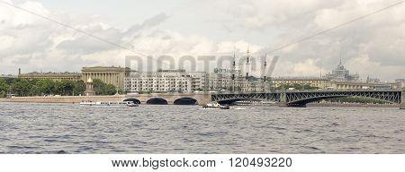 RUSSIA; SAINT-PETERSBURG - JULY 8 - View of the Troitsky Bridge on July 8; 2015 in St. Petersburg