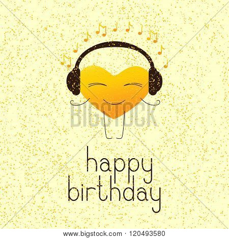 Happy Birthday Greeting Card With Musical Heart Character