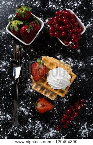 Waffle With Currant And Strawberry