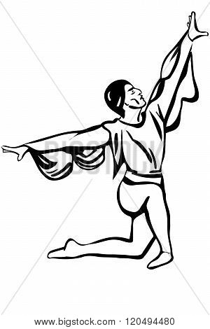 Vector Sketch Of A Male Soloist Of Classical Ballet Is In A Pose