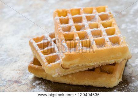Sugary Waffles On Steel Plate
