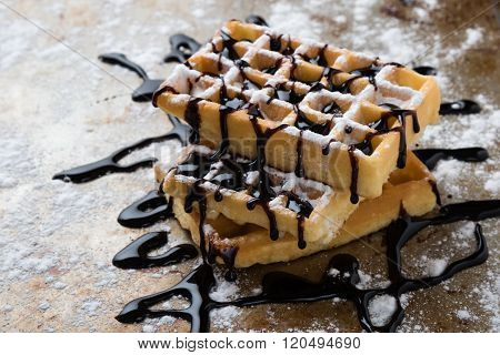 Waffle With Chocolate Syrup