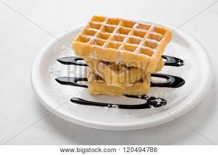 Three Waffles On Plate