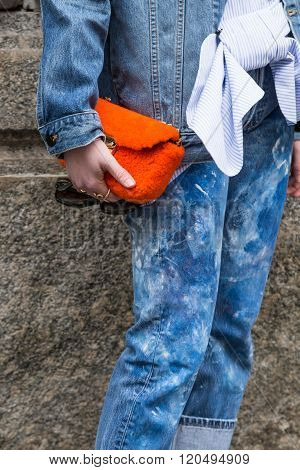 Detail Of Bag Outside Sportmax Fashion Show During Milan Women's Fashion Week