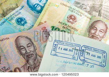 Visa passport stamp from vietnam and Vietnamese money (Dong)