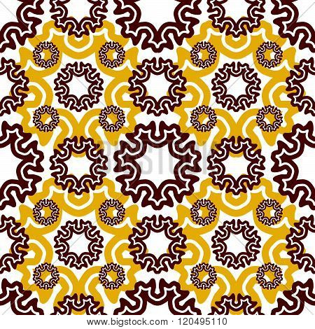 Seamless Wallpaper. Motley Retro Repeating Pattern. The Yellow Brown Pattern