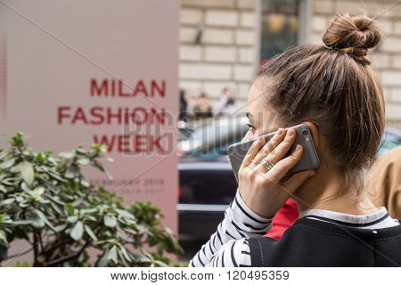 Fashionable Woman Outside Sportmax Fashion Show During Milan Women's Fashion Week