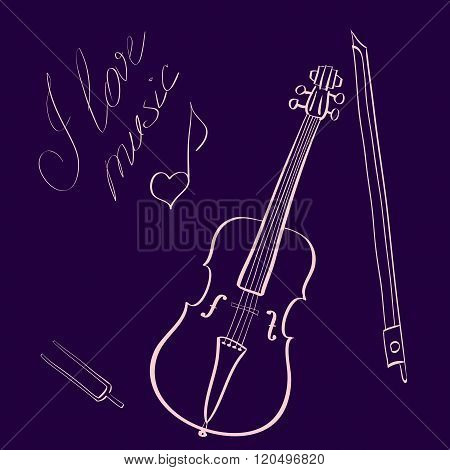 Vector illustration hand drawn violin with bow and tuning fork and handwritten title I love music wi