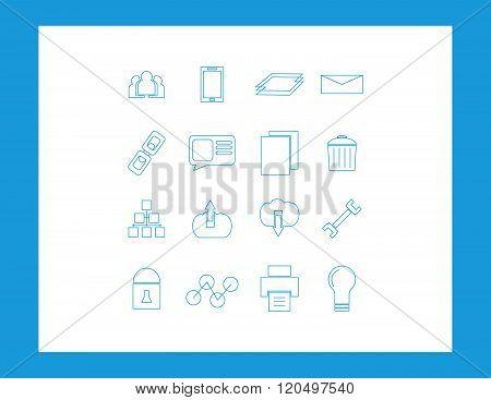 Set of web icons isolated on white background