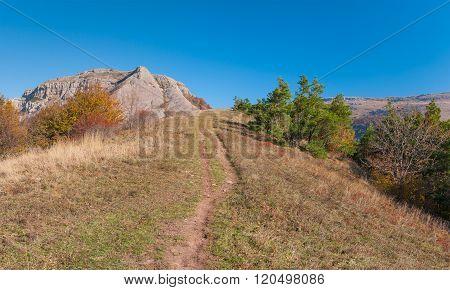 Path to Bald Ivan mountain at autumn season