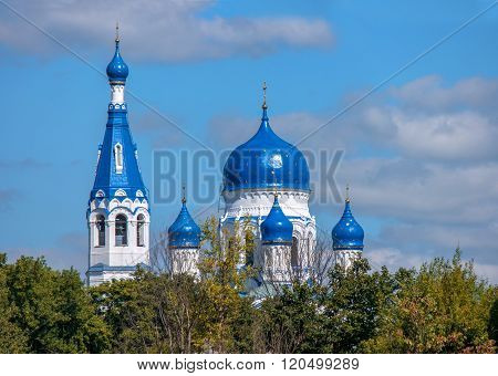 Blue dome of Orthodox St. Basil Cathedral, Gatchina, Russia