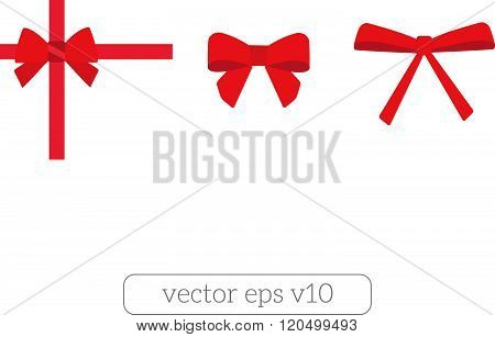 Set of red bows Vector white background