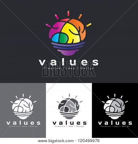 Brain Lamp Logo Vector - Rainbow Colorful Tone Is Mean Value Creative Idea And Design