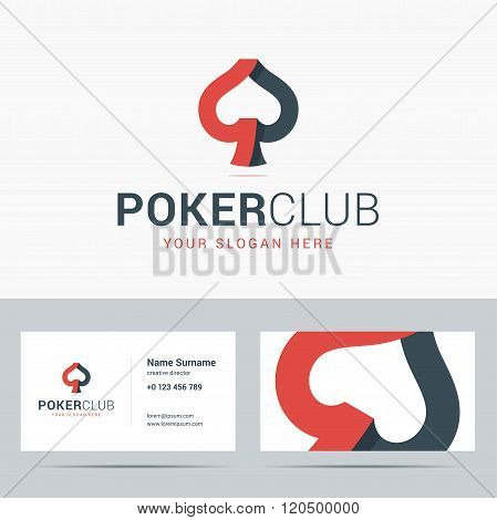 Logotype and business card template for poker club.