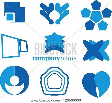 collection of blue vector logo of geometric modules