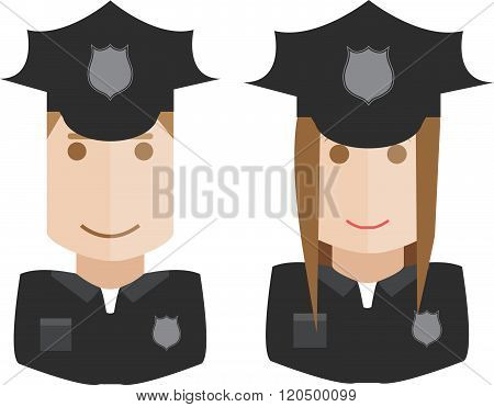 Illustration avatars of the policemen, policewoman on a white background
