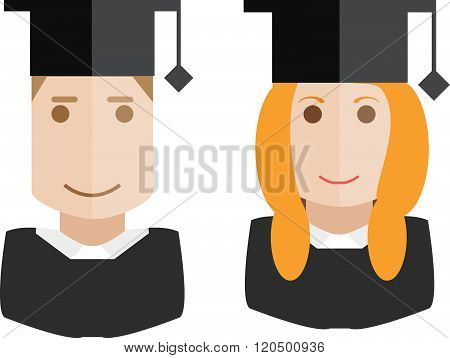 School people icons. Avatars vector students set