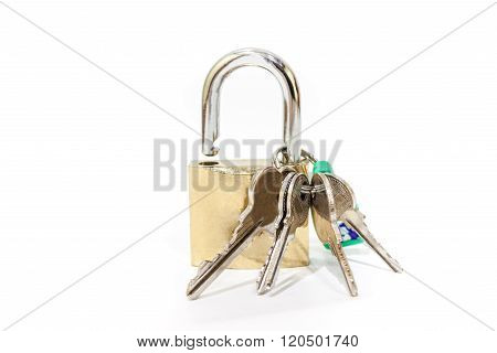 hinged lock with keys