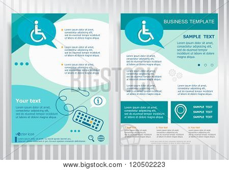 Disabled Handicap Icon On Vector Brochure