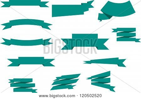 green banner vintage, retro ribbons vector set