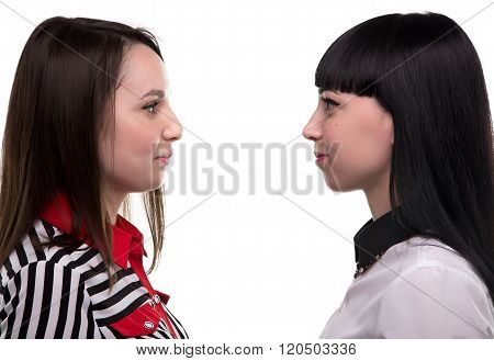 Two women in profile - business associate