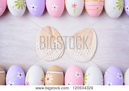 Easter Eggs On A Grey Wooden Background.