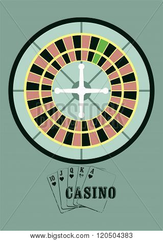 Casino vintage style poster with roulette. Retro vector illustration.