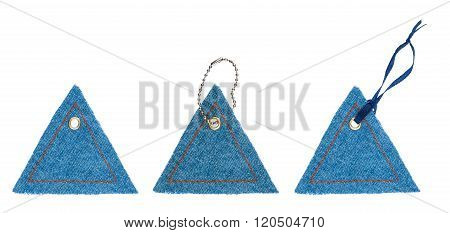 Set Jean Tags In The Form Of Triangles With Metal Rivets