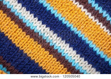 Stripped Knitted Background. Inclined Lines