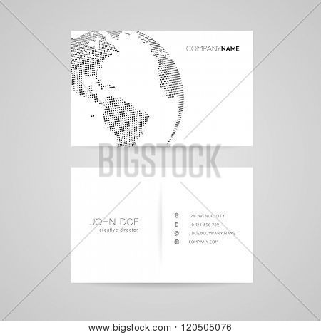 Business card with abstract dotted earth world. Vector illustration