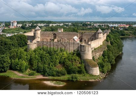 ancient Ivangorod fortress at the border of Russia and Estonia