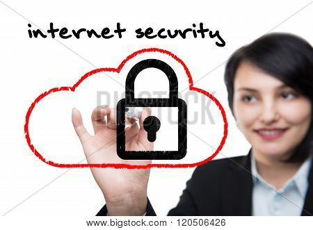 Business woman with marker pen drawing of internet security concept Picture