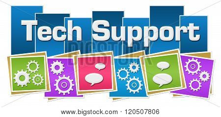 Tech Support Colorful Squares Gears Bottom