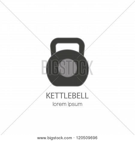 Vector line style logo with a kettlebell.