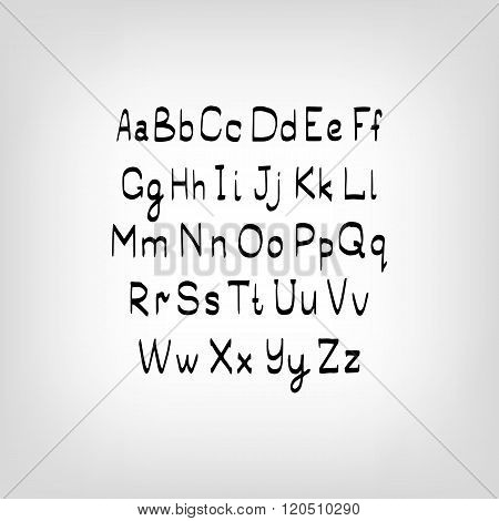 Vector Hand drawn letters. Letters of the alphabet written with a brush.