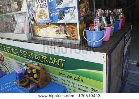 A Shop Who Sold Bucket Full Of Alcohol