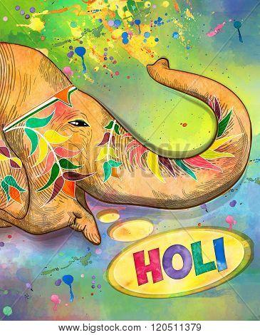 Holi Colorful Illustration