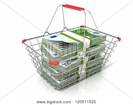 Steel wire shopping basket full of euros stacks. Isolated on a white background